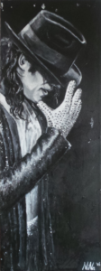 """Black or White (Michael)"", acryl on canvas, 30x70cm"