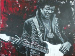 """Jimi Hendrix"", acryl on canvas, 60x80cm"