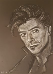 """David Bowie"", pastel on paper, 30x40cm"